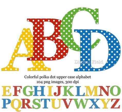 polka dot uppercase alphabet clip art set yellow red