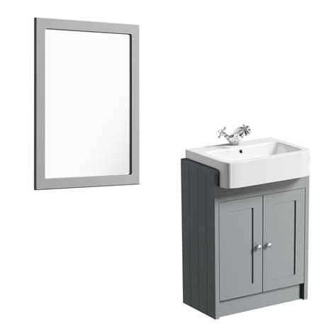 My wife is interested in replacing the mirror with lighted vanity mirrors. The Bath Co. Dulwich stone grey semi recessed vanity unit ...