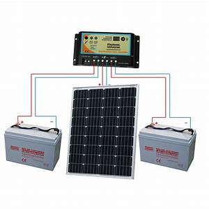 100w 12v Dual Battery Solar Charging Kit   100 Watt Panel