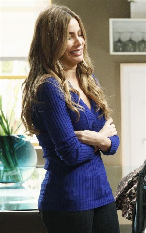 gloria pritchett wore an inc ribbed knit surplice neck sweater on modern family shop it http