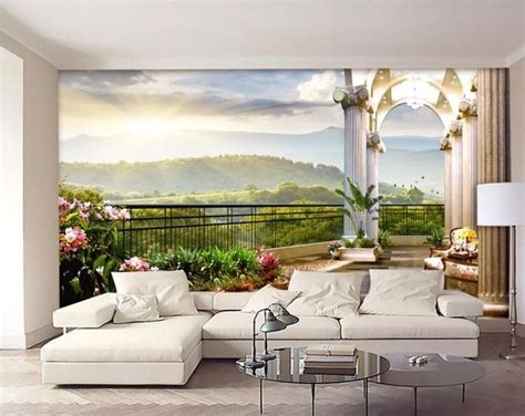 3d Room Wallpaper Custom Mural Out Of The Window Balcony