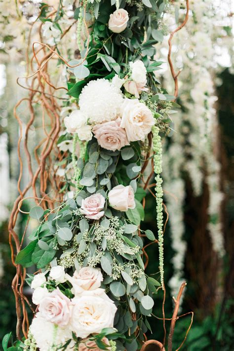 blush rose  eucalyptus wedding arch