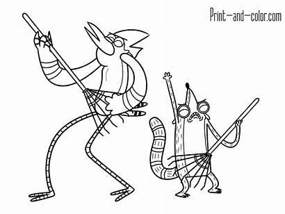 Regular Mordecai Rigby Coloring Pages Printable Cartoon