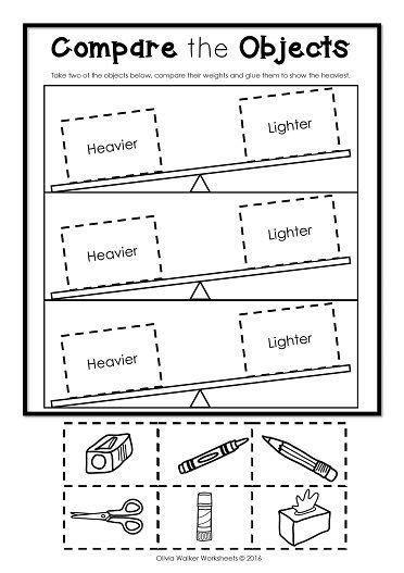 Weight Worksheets Non Standard Measurement  Kindergarten Grade One Students Math