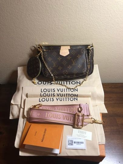 louis vuitton pochette accessoires multi pink strap  brown monogram canvas cross body bag