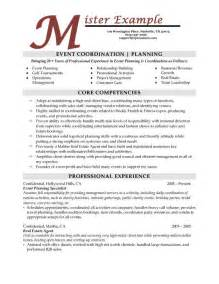 planner resume template event planning resume lessonpaths