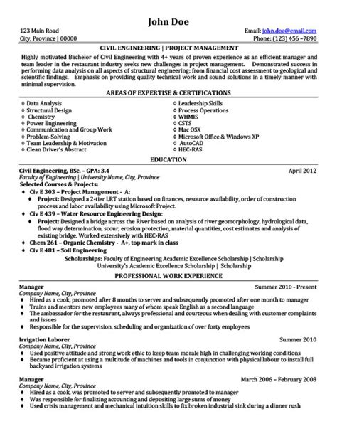 civil engineering project management resume template