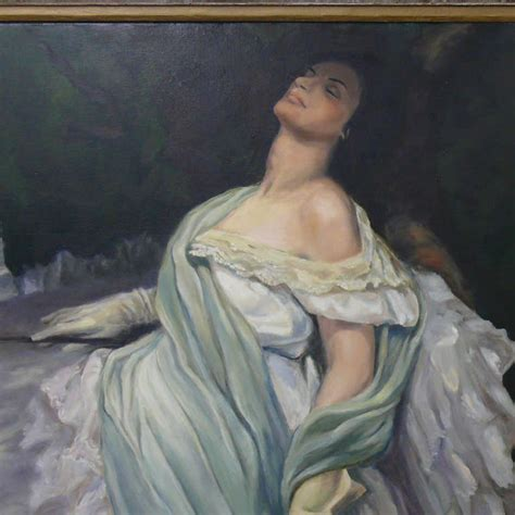 Reclining Woman With Dog Painting By C. H. Hanford For