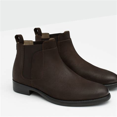 Brown Boat Shoes Zara by Zara Leather Chelsea Boots In Brown For Lyst