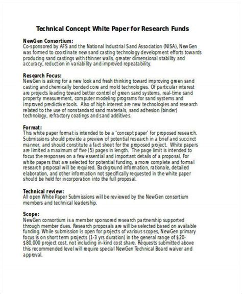 sample concept paper  funding  concept proposal examples samples