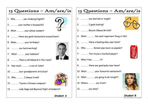 13 Questions (0) Amareis (pair Work) Worksheet  Free Esl Printable Worksheets Made By Teachers