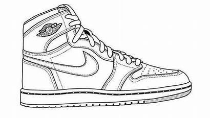 Template Nike Shoe Coloring Basketball Air Drawing