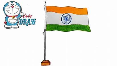 Flag Indian Draw Drawing Easy India Step