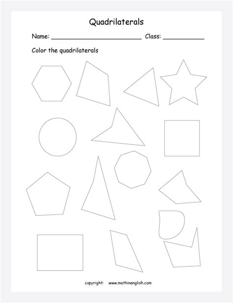 Coloring Quadrilaterals by Count Sides And Color Those Shapes That Are Quadrilaterals