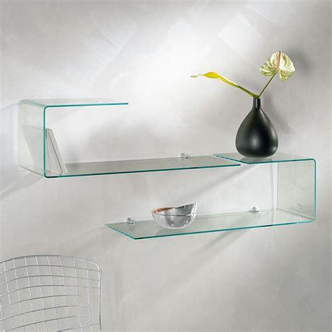mensola trasparente mensola ripiano in vetro curvato trasparente 75 cm flexi