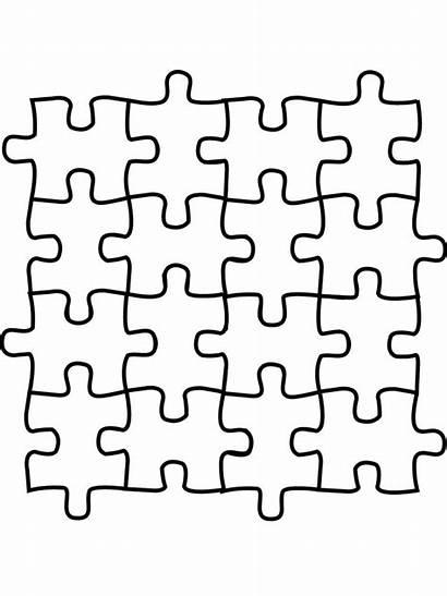 Puzzle Coloring Printable Pieces Pages Clipart Clip