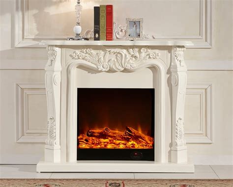ivory white antique decor flame electric fireplace