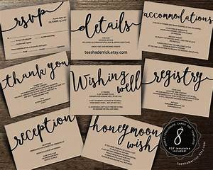 wedding insert cards pdf template instant download With wedding invitation insert for registry