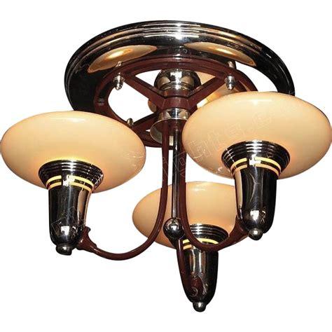 vintage flush mount 3 slip shade mid century ceiling light