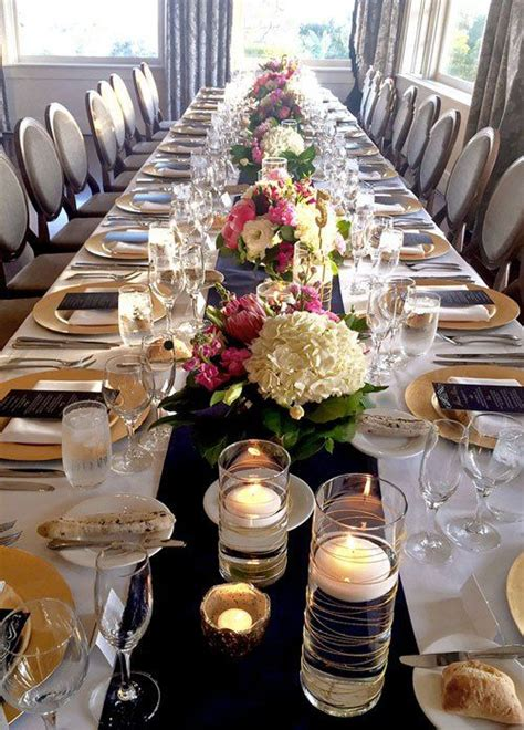 navy  gold wedding table decor  white  pink