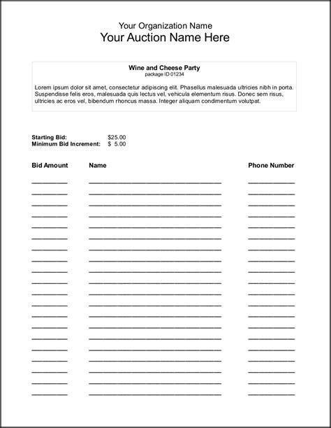 bid sheets