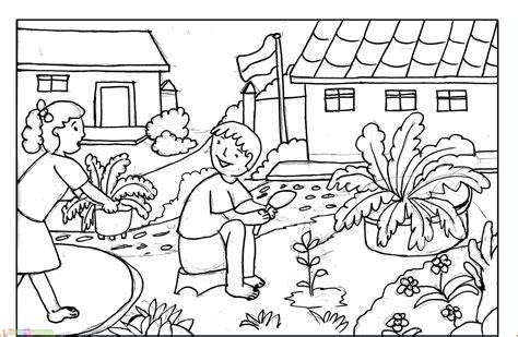 Spring Scene Coloring Pages Elitflat