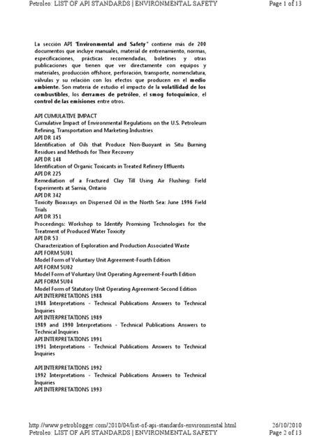 Listado de Normas API | Oil Refinery | Petroleum