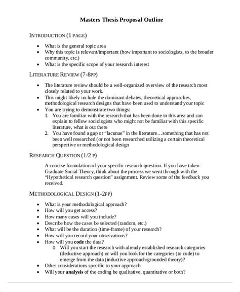 Thesis Template 8 Thesis Outline Templates Free Sle Exle Format