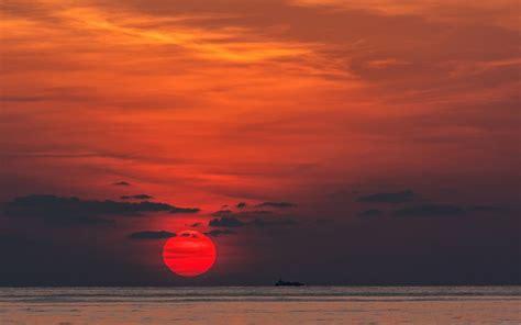 sunset red sun ship sea wallpaper  hoantube