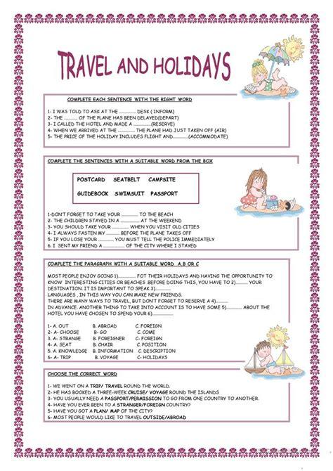 travel  holidays worksheet  esl printable