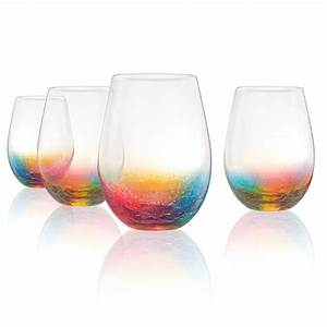 Artland, Neon, 19, Ounce, Stemless, Wine, Glass, Set, Of, 4, -, Walmart, Com