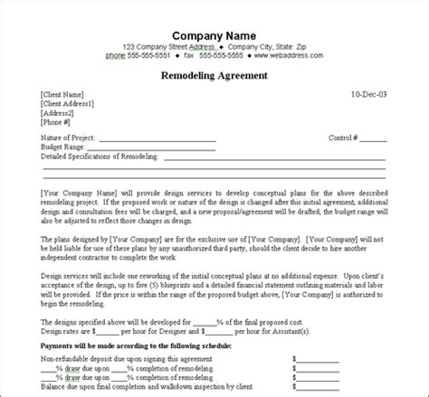 Staging Contract Template Free Independent Remodeling Agreement Construction Work