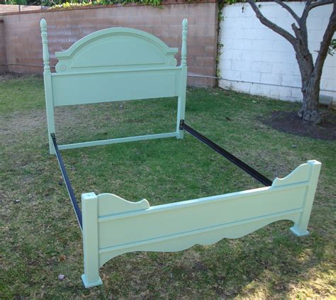 Shabby Chic French Provincial Queen Bed Frame In Mint
