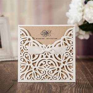 white square laser cut flower with bowknot lace pocket With cost of laser cut wedding invitations