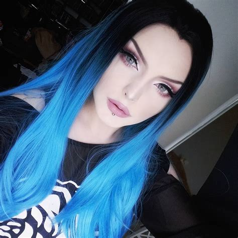 Electrical Blue Long Sleek Straight Synthetic Lace Front