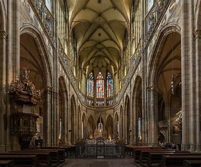 Cathedral Vitus Prague St Interior Nave Gothic