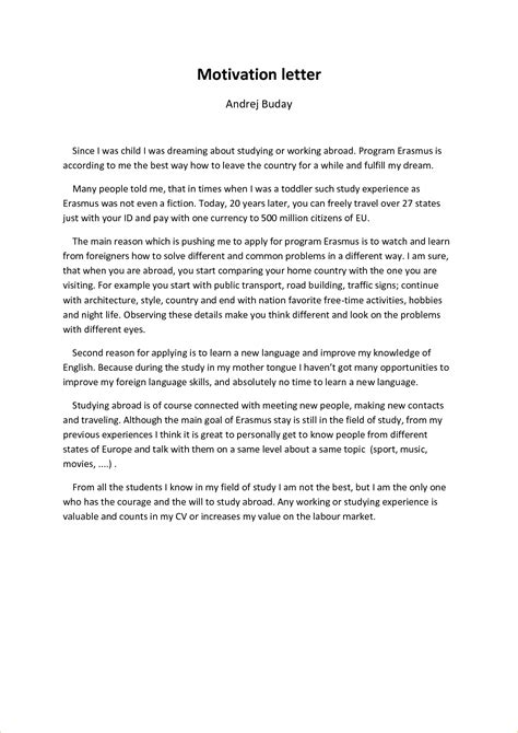 motivation letter study abroad exle cv voorbeeld 2018