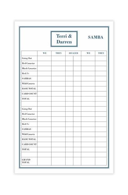 Samba Score Pads Canasta Games Pk Personalized