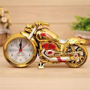 Creative, Clock, Unique, Stylish, Motorcycle, Clock, Round, Dial, Analog, Alarm, Clock, Golden, U0026, Red