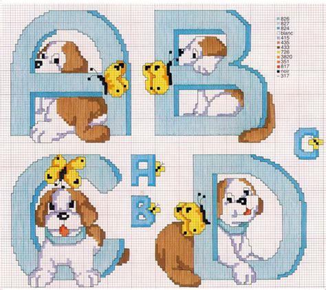 Alfabeto cane 1 schema punto croce gratuito da stampare