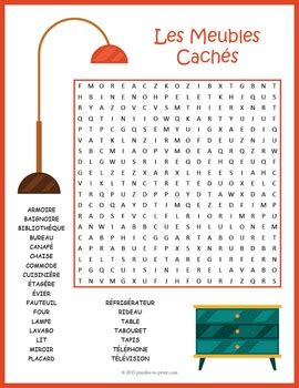French Word Search Puzzle Les Meubles By Puzzles To Print