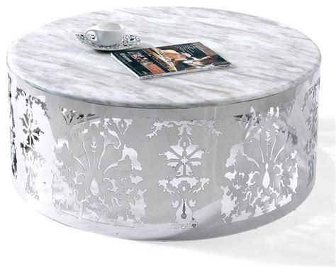 modern white round coffee table modern chrome and white round coffee table lorenzo