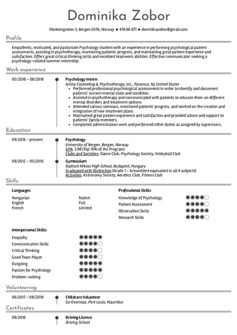 Psychology Resume Template by Resume Exles By Real Psychology Intern Resume