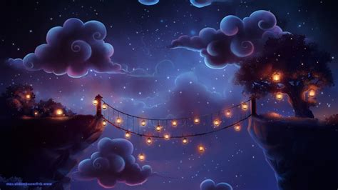 Wallpaper Illustration Artwork Stars Clouds Lantern