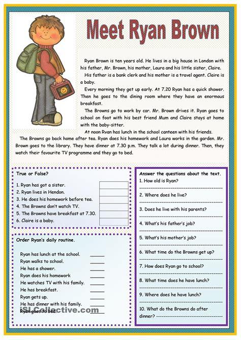 esl reading comprehension worksheets for adults