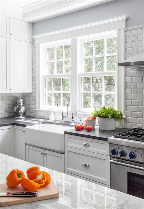 white upper cabinets  gray  cabinets  gray