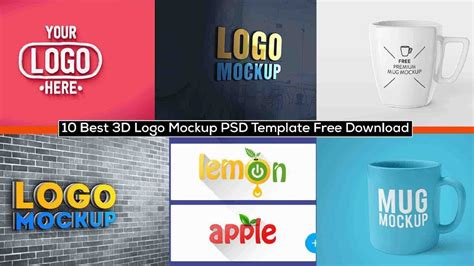 Download the biggest source for free photorealistic mockups online! 10 Best 3D Logo Mockup PSD Template Free Download - YouTube