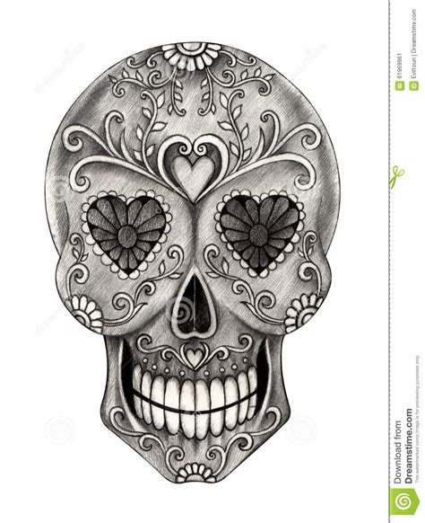 Art Skull Day The Dead Festival Stock Illustration