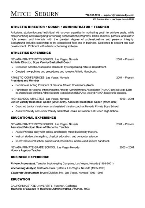 Basketball Coach Resume Sle by Coach Athletic Director Resume Exles Simple