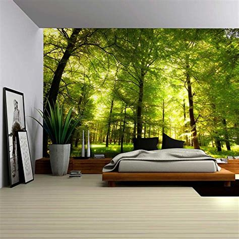 green forest trees nature large wall mural removable